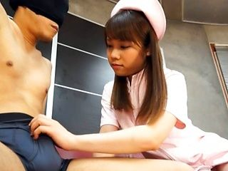 Naughty Teen Nurse Ria Mikotori Knows How To Stroke Cock