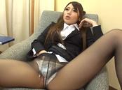 Sweet office lady Saki Hatsuki gives a foot job and rides cock