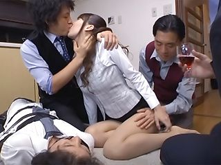 Yui Ooba naughty Asian milf enjoys threesome at work