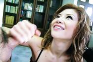 Akane Hotaru Japanese doll fondles her friends cock