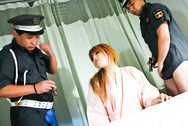 Hatsuka Asian beauty gives a hot blowjob to some police officers