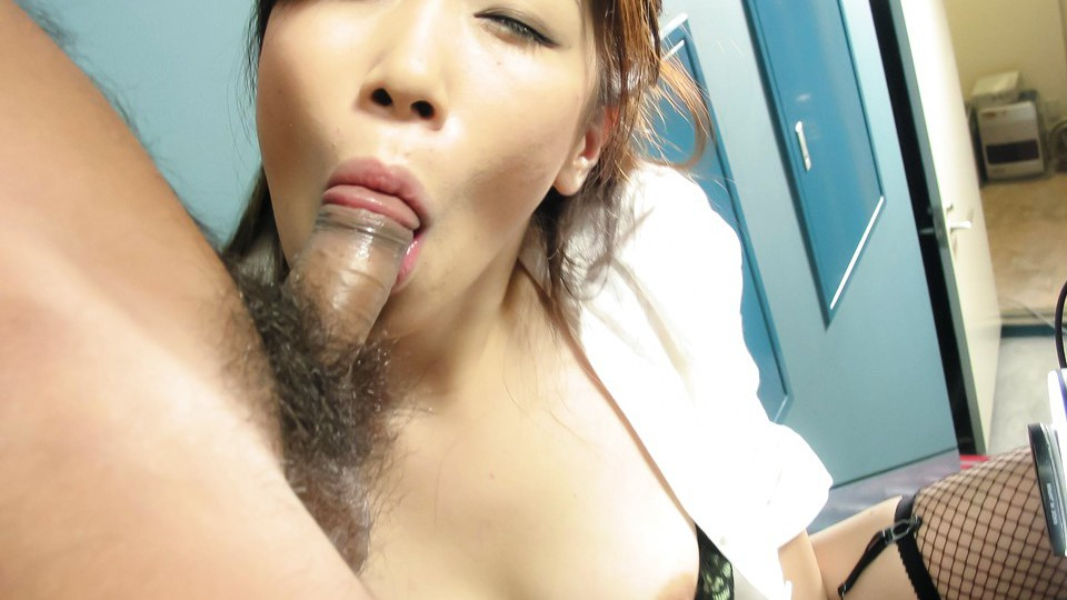 Rui Aikawa Asian chick in miniskirt gives sensual blow job