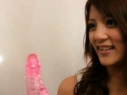 Risa Tsukino Asian model gets a dildo inserted in her hot cunt