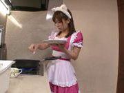 Maid Minami Kojima shows off her ass and blowjob skills