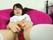 Cute Reon Aizawa having her pussy nailed in solo