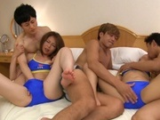 Cute beauties Hikari Natsuno, and Hitomi Katase enjoy group sexjapanese sex, asian babe, cute asian}