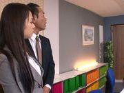 Sweet teen Riho Nanase gets horny at the office