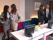 Sweet teen Riho Nanase gets horny at the office