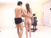 Appetizing Japanese model Rei Aimi enjoys kinky toy insertion
