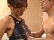 Petite Japanese cutie Minami Aoi has fun in a bathroom