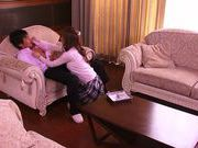 Cute Japanese milf Akiho Yoshizawa in handcuffs enjoys teasing