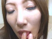 Busty Asian milf Yumi Mizuki masturbating on cam
