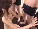 Minami Hirahara Asian teen in group sex eats cum picture 12
