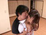 MILF teacher Ruri Saijo thrills two guys in a threesome picture 14