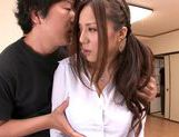 MILF teacher Ruri Saijo thrills two guys in a threesome picture 9