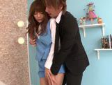 Long-haired Asian redhead gets fucked by her new boss