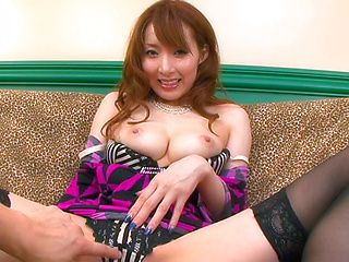 Kou Minefuji Asian model enjoys giving a hot blowjob
