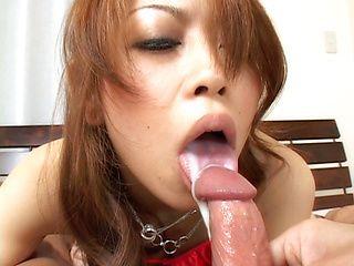 Nozomi Uehara Lovely Japanese babe gives a hot blowjob