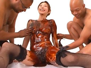 Sexy mature Japanese chick in kinky group action