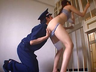 Police guy fucks imprisoned Japanese hottie Rina Rukawa