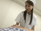 Sexy Japanese nurse in fancy pantyhose gives a blowjob and a ride picture 11