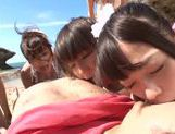 Naughty Japanese AV models in awesome beach gangbang picture 13