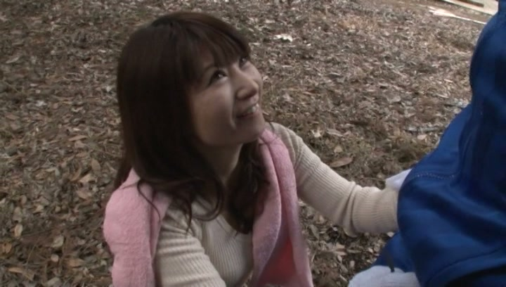 Kinky Japanese mature gives blowjob outdoors picture 13