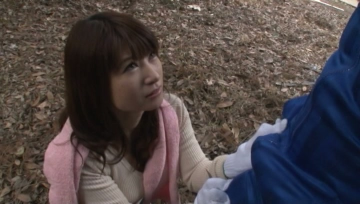 Kinky Japanese mature gives blowjob outdoors picture 14