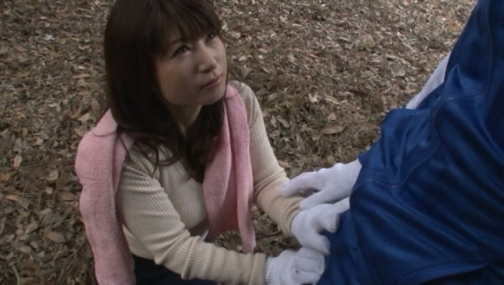 Kinky Japanese mature gives blowjob outdoors picture 15