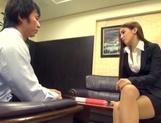 Astonishing Asian office lady Ayaka Tomoda masturbates and bounces on rod picture 13