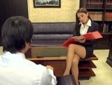 Astonishing Asian office lady Ayaka Tomoda masturbates and bounces on rod