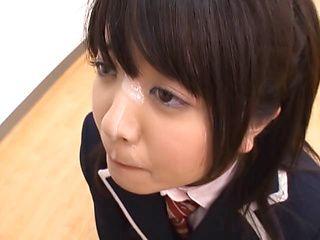 Lusty schoolgirl Aki Hinomoto deepthroats her strict male teacher