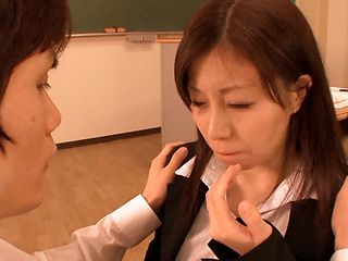 Horny Chihiro Akino enjoys sucking huge cock