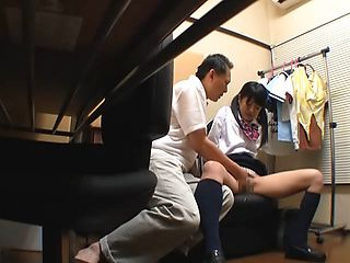 Kinky Japanese teen having sex with a senior guy