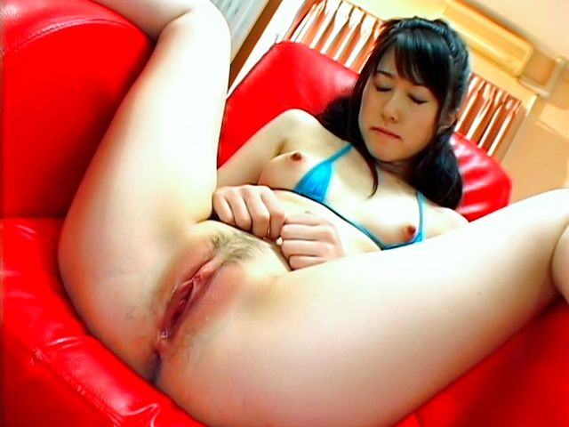 Shiori Kitajima Asian model rubs her juicy pussy