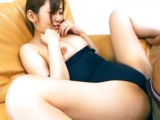 Asian babe Kanan Yazuki riding and sucking a large dick