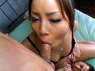 Hatsuka Asian beauty gets her pussy licked and gives a blowjob