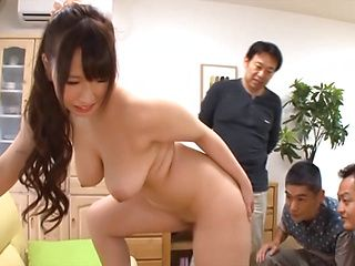 Curvaceous Japanese wife Sayuki Kanno gives a blowjob to hot guys