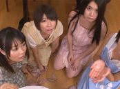 Riku Minato and naughty teen friends have one cock for lunch