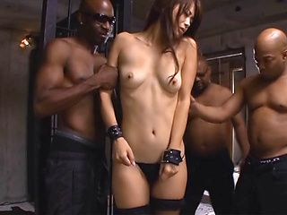 Very sweet Japanese woman Maki Hokujo teased by black dudes