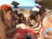Erotic Japanese AV model in group action on the beach