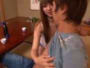 Hitomi Kitagawa pretty Asian hostess gets titty fucked