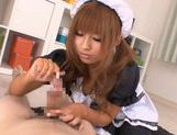 Kokomi Naruse is wearing a sexy maid suit ready to serve blowjobs for free picture 11