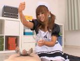 Kokomi Naruse is wearing a sexy maid suit ready to serve blowjobs for free