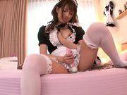 Horny voyeur watches his maid Tsubasa Amami rubbing her pussy
