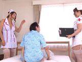 MILF nurses Naho Hazuki and Yuri Honma tag team a cock