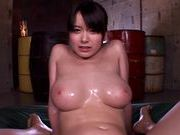 Busty Asian angel Anna Natsuki gets oiled enjoys titfuckxxx asian, asian anal}