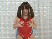 Pigtailed Japanese teen Aiko Sunukawa in hot solo action