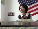 Horny Japanese teen girl has hardcore sex for voyeurs picture 12