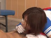 Horny Japanese schoolgirl makes facesitting and rides cock